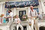 Performers from London's Shakespeare's Globe performs during the opening of the Spoleto Festival USA, a 17-day performing arts festival May 22, 2015 in Charleston, South Carolina. Mayor Joe Riley opened the festival for the last time as Mayor as he will retire at the end of the year after 39-years.