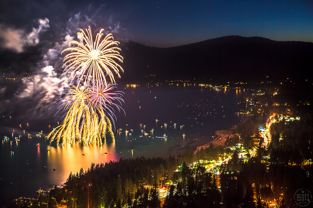 """Kings Beach Fireworks 3"" - Photograph of the 4th of July fireworks show above Kings Beach, Lake Tahoe."
