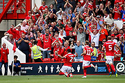 Nottingham Forest forward Hillal Soudani (2)  celebrates his goal during the EFL Sky Bet Championship match between Nottingham Forest and Reading at the City Ground, Nottingham, England on 11 August 2018.