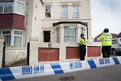 © Licensed to London News Pictures. 21/09/2017. London, UK. Police stand outside a property in Thornton Heath, south London where a 17 year old was arrested last night. This is the sixth arrest in connection with the bombing of an underground train at Parsons Green on September 15th. The bomb failed to fully explode but still injured 30 people. Photo credit: Peter Macdiarmid/LNP