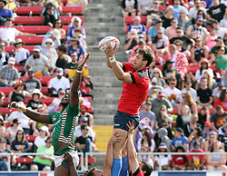 March 5, 2017 - Las Vegas, Nevada, United States of America - Kenyan and Russian Rugby players compete during the 2017 USA Sevens International Rugby Tournament game between Kenya and Russia on March 4, 2017  at Sam Boyd  Stadium  in Las Vegas, Nevada (Credit Image: © Marcel Thomas via ZUMA Wire)