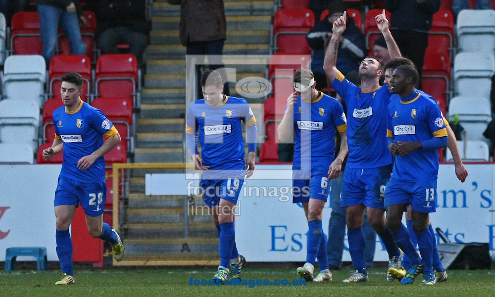 Picture by Mark Hawkins/Focus Images Ltd 07949 023795<br /> 29/12/2013<br /> Matt Rhead of Mansfield Town points to the sky after making the score 0-2 during the Sky Bet League 2 match against Cheltenham Town at The Abbey Business Stadium, Cheltenham.
