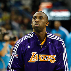 February 5, 2011; New Orleans, LA, USA; Los Angeles Lakers shooting guard Kobe Bryant (24) during warm ups prior to tip off of a game against the New Orleans Hornets at the New Orleans Arena.   Mandatory Credit: Derick E. Hingle