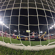 Dax McCarty, New York Red Bulls, (left) after scoring his sides dramatic injury time winner beating Real Salt Lake goalkeeper Jeff Attinella who lies dejected in the goalmouth during the 4-3 Red Bulls win in the New York Red Bulls V Real Salt Lake, Major League Soccer regular season match at Red Bull Arena, Harrison, New Jersey. USA. 27th July 2013. Photo Tim Clayton