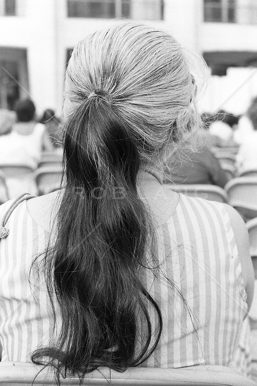 Back of woman's head with a multi colored pony tail
