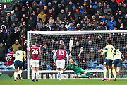 Burnley forward Jay Rodriguez (19) scores from the penalty 2-0 during the Premier League match between Burnley and Bournemouth at Turf Moor, Burnley, England on 22 February 2020.