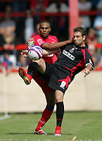 Photo: Lee Earle/Richard Lane Photography. <br /> Aldershot Town v AFC Bournemouth. Coca Cola League 2. 16/08/2008.    Aldershot's Louie Soares (L) battles with Brett Pitman.