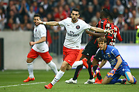 Javier Pastore of Paris SG celebrates after scoring his side's opening goal during the French championship L1 football match between Nice and Paris Saint Germain on April 18, 2015 at the Allianz Riviera stadium in Nice, France. <br /> Photo: Manuel Blondeau / AOP Press/ DPPI