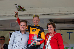 Podium with stage winner Jolien D'Hoore of Wiggle Honda after the finish at the Holland Ladies Tour, 's-Heerenberg, Gelderland, The Netherlands, 1 September 2015.<br /> Photo: Pim Nijland / PelotonPhotos.com