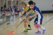 Australia&rsquo;s Ashlegh Bourke and Japan&rsquo;s Hitomi Sugaya in action during the World Floorball Championships 2017 Qualification for Asia Oceania Region Final - Australia v Japan at ASB Sports Centre , Wellington, New Zealand on Sunday 5 February 2017.<br /> Photo by Masanori Udagawa<br /> www.photowellington.photoshelter.com.