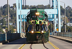 The first delivery of  Amtrak passenger rail cars arrive across  Wichel's Causeway to be refurbished at the new Alstom facility  opening on the former Mare Island  Naval Base.  Alstom, based in France has a 2-year contract to upgrade passenger cars door systems at the new location.