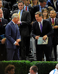 His Royal Highness Prince Charles, greets Prime minister, David Cameron  - Photo mandatory by-line: Joe Meredith/JMP - Mobile: 07966 386802 - 10/09/14 - The Invictus Opening Ceremony - London - Queen Elizabeth Olympic Park