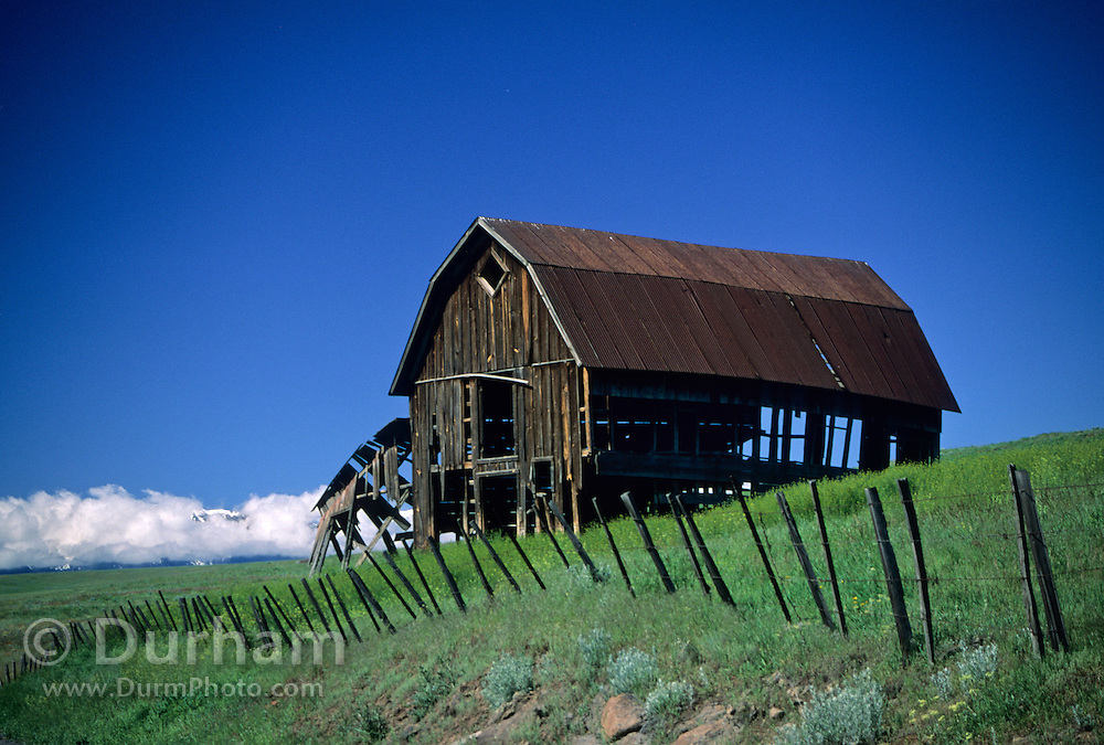 An old livery barn marks the old stage coach route between Enterprise and Imnaha. Long ago, a more direct route was paved between the two towns. This is turned now into Zumwalt Road which leads up to the high prairie and The Nature Conservancy's Zumwalt Prairie Preserve. The cloud shrouded Wallowa Mountain Range is on the horizon.