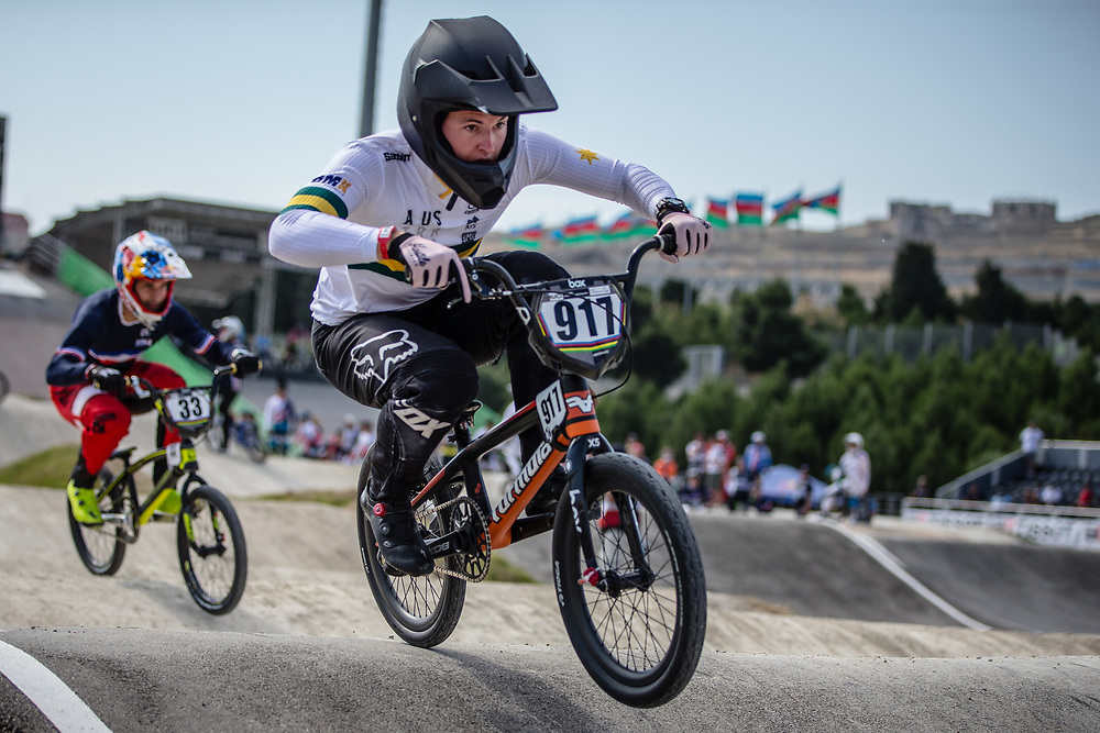 Men Elite #917 (HUGHES Andrew) AUS the 2018 UCI BMX World Championships in Baku, Azerbaijan.