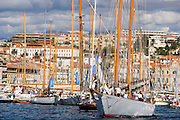 Schooner Altair leaving the port of Cannes, Regates Royales