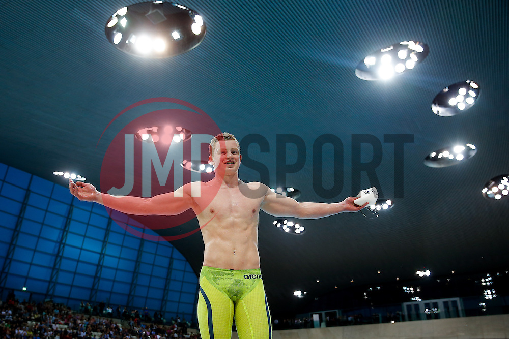 Adam Peaty from the City of Derby Swimming Club celebrates after setting a New World Record to win the Mens 100m Breaststroke Final, with a time of 57.92 seconds- Photo mandatory by-line: Rogan Thomson/JMP - 07966 386802 - 16/04/2015 - SPORT - SWIMMING - The London Aquatics Centre, England - Day 4 - British Swimming Championships 2015.