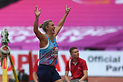 Barbora Spotakova of Czechoslovakia wins the Women's Javelin and celebrates during the Muller Anniversary Games at the London Stadium, London, England on 9 July 2017. Photo by Martin Cole.