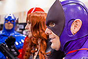 27 MAY 2011 - PHOENIX, AZ: Members of the Arizona Avengers, a local group of comic heros, pose for photos at Phoenix Comicon Friday. Phoenix Comicon opened Thursday and featured a Zombie Walk through downtown Phoenix Friday night. Hundreds of people participated in the Zombie Walk, both as Zombies and as Zombie hunters. This year's Comicon includes appearances by Leonard Nimoy (Star Trek), Adam Baldwin (Firefly and Chuck), Stan Lee (Marvel Comics), Nicholas Brendon (Buffy the Vampire Slayer) and others. Activities include costuming workshops, role playing games and a Geek Prom.     Photo by Jack Kurtz