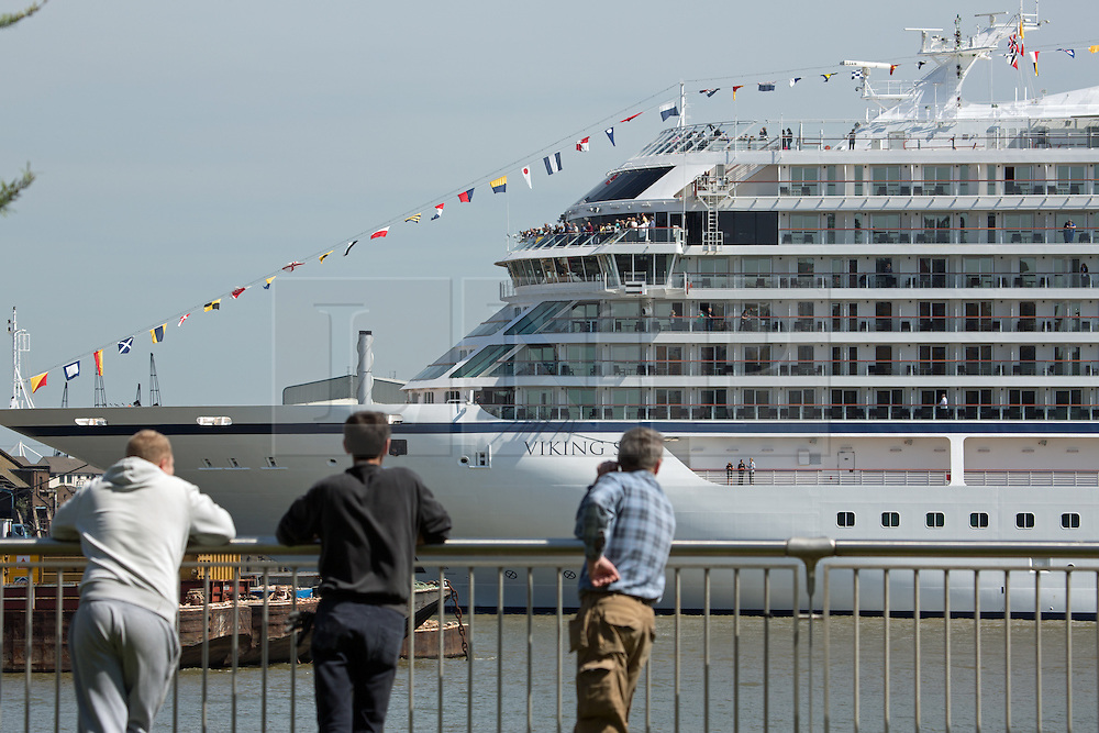 © Licensed to London News Pictures. 05/05/2016. Brand new cruise ship Viking Sea has arrived in London for a christening ceremony at Greenwich. The 227 metre long cruise ship carries 930 passengers and is the biggest cruise ship to ever be christened in London. Credit : Rob Powell/LNP