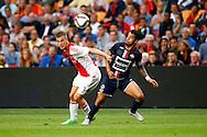 15-08-2015 VOETBAL:AJAX-WLLEM II:AMSTERDAM<br /> Jo&euml;l Veltman van Ajax in duel met Bruno Andrade van Willem II <br /> <br /> Foto: Geert van Erven