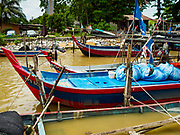 23 AUGUST 2018 - TELUK KUMBAR, PENANG, MALAYSIA: Small fishing boats in port in Teluk Kumbar on the island of Penang. Fishermen on Penang, an island off the west coast of mainland Malaysia, are being pressured by the island's resort development and reduce catches in the waters off Malaysia.     PHOTO BY JACK KURTZ