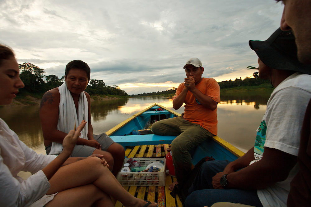 A relaxed scene playing out  as guides return to camp, Amazon River, Amazonas,Brazil