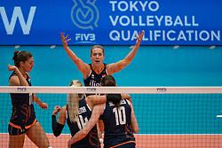 02-08-2019 ITA: FIVB Tokyo Volleyball Qualification 2019 / Belgium - Netherlands, Catania<br /> 1e match pool F in hall Pala Catania between Belgium - Netherlands / (L-R) Lonneke Sloetjes #10 of Netherlands, Laura Dijkema #14 of Netherlands, Maret Balkestein-Grothues #6 of Netherlands, Lonneke Sloetjes #10 of Netherlands