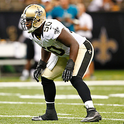 August 17, 2012; New Orleans, LA, USA; New Orleans Saints linebacker Curtis Lofton (50) against the Jacksonville Jaguars during the first half of a preseason game at the Mercedes-Benz Superdome. Mandatory Credit: Derick E. Hingle-US PRESSWIRE