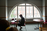 Business major Matt Middendorf studies in the Undergraduate Student Lounge in Copeland Hall. Photo By Ben Siegel