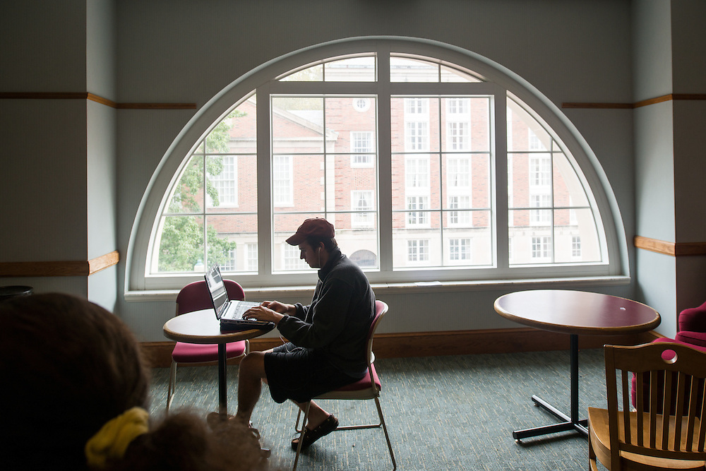 Business major Matt Middendorf studies in the Undergraduate Student Lounge in Copeland Hall. Photo By Ben Siegel