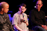 Left to right composers ;  DBR, Fred Hersh and Ricardo Lorenz discuss their work on.Liaisons: Reimagining Sondheim From the Piano, at Symphony Space on April 21, 2012 ..Photo Credit ; Rahav Iggy Segev