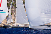 Nilaya and Visione sailing in the St. Barth's Bucket Regatta.