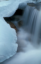 Ice and tumbling water on Jordan Stream.  Carriage Roads.  Acadia N.P., ME.