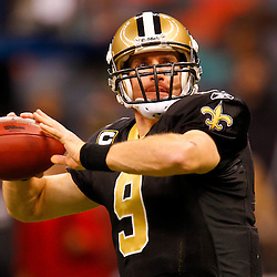 January 2, 2011; New Orleans, LA, USA; New Orleans Saints quarterback Drew Brees (9) during warm ups prior to kickoff of a game against the Tampa Bay Buccaneers at the Louisiana Superdome. Mandatory Credit: Derick E. Hingle