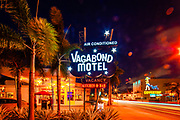 The iconic, Miami Modern (MiMo) style Vagabond Motel designd by architect Robert Swartburg in 1953 and restored by redeveloper Avra Jain in 2013 is a landmark on Miami's Biscayne Boulevard.