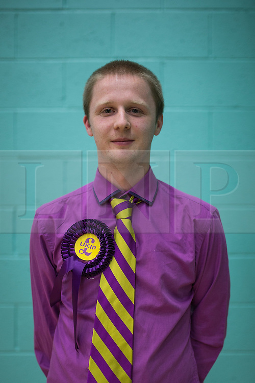 © Licensed to London News Pictures . 10/10/2014 . Heywood , UK . WARREN MITCHELL (21 from Heywood) , Chairman of the Rochdale branch of UKIP , at the Heywood and Middleton by-election count . Photo credit : Joel Goodman/LNP