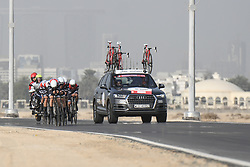 February 24, 2019 - Abu Dhabi, United Arab Emirates - Members of Team Trek - Segafredo in action, during the Team Time Trial, the opening ADNOC stage of the inaugural UAE Tour 2019..On Sunday, February 24, 2019, Abu Dhabi, United Arab Emirates. (Credit Image: © Artur Widak/NurPhoto via ZUMA Press)