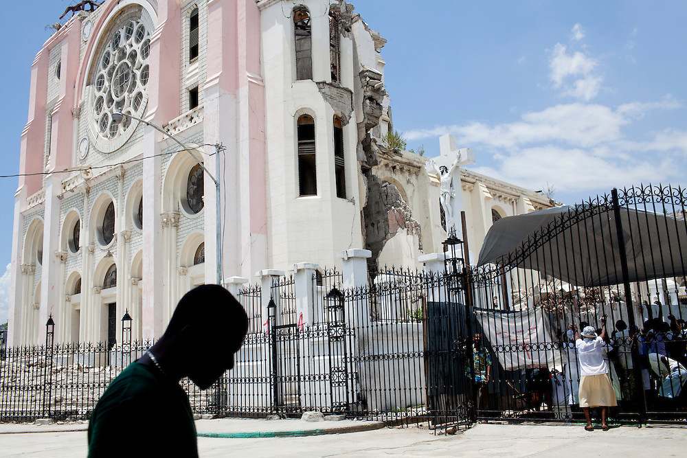 A man walks past the main cathedral on July 6, 2010 in Port-au-Prince, Haiti.