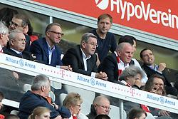 27.04.2013, Allianz Arena, Muenchen, GER, 1. FBL, FC Bayern Muenchen vs SC Freiburg, 31. Runde, im Bild V.l.n.r.: Vorstandsvorsitzender Karl-Heinz RUMMENIGGE (FC Bayern Muenchen), Karl Hopfner (Ehrenamtlicher Vize-Praesident) und Praesident Uli HOENESS (FC Bayern Muenchen) // during the German Bundesliga 31th round match between FC Bayern Munich and SC Freiburg at the Allianz Arena, Munich, Germany on 2013/04/27. EXPA Pictures © 2013, PhotoCredit: EXPA/ Eibner/ Wolfgang Stuetzle..***** ATTENTION - OUT OF GER *****