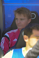 Real Madrid´s Martin Odegaard on his first cap with first team during 2014-15 La Liga match between Real Madrid and Almeria at Santiago Bernabeu stadium in Madrid, Spain. April 29, 2015. (ALTERPHOTOS/Luis Fernandez)