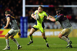 Mike Haley of Sale Sharks fends Adam Jones of Harlequins - Mandatory byline: Patrick Khachfe/JMP - 07966 386802 - 03/02/2017 - RUGBY UNION - The Twickenham Stoop - London, England - Harlequins v Sale Sharks - Anglo-Welsh Cup.