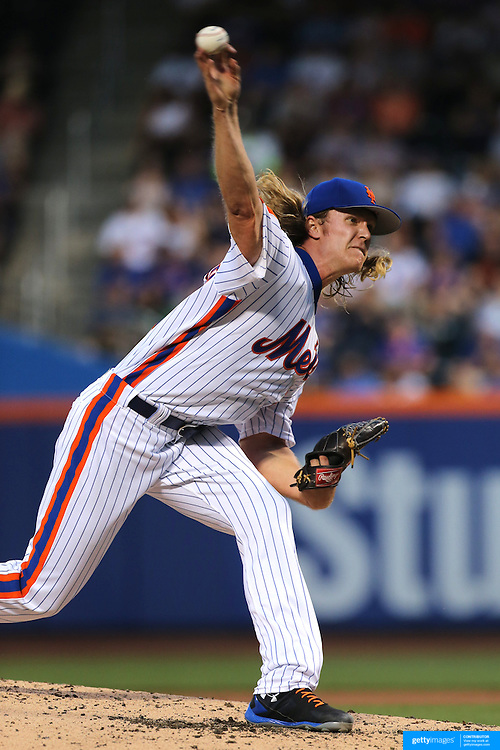 NEW YORK, NEW YORK - May 28:  Pitcher Noah Syndergaard #34 of the New York Mets pitching during the Los Angeles Dodgers Vs New York Mets regular season MLB game at Citi Field on May 28, 2016 in New York City. (Photo by Tim Clayton/Corbis via Getty Images)