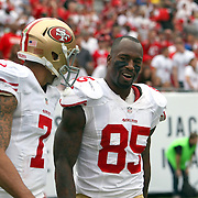 San Francisco 49ers quarterback Colin Kaepernick (7) and San Francisco 49ers tight end Vernon Davis (85) celebrate a touchdown during an NFL football game between the San Francisco 49ers  and the Tampa Bay Buccaneers on Sunday, December 15, 2013 at Raymond James Stadium in Tampa, Florida.. (Photo/Alex Menendez)