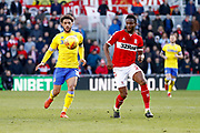 Leeds United forward Tyler Roberts (11) in action  during the EFL Sky Bet Championship match between Middlesbrough and Leeds United at the Riverside Stadium, Middlesbrough, England on 9 February 2019.
