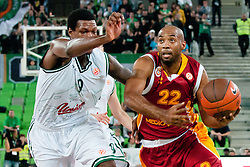 Jamon Lucas of Galatasaray Medical Park and Deon Thompson of Union Olimpija during basketball match between KK Union Olimpija and Galatasaray Medical Park (TUR) of 4th Round in Group D of Regular season of Euroleague 2011/2012 on November 9, 2011, in Arena Stozice, Ljubljana, Slovenia. Galatasaray Medical Park won 79:70. (Photo by Matic Klansek Velej / Sportida)