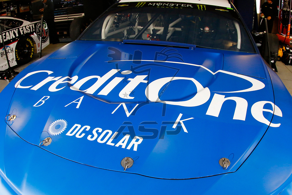March 24, 2018 - Martinsville, Virginia, USA: The car of Kyle Larson (42) sits in the garage before practice the STP 500 at Martinsville Speedway in Martinsville, Virginia.