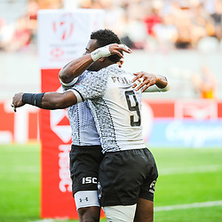 Jerry Tuwai of Fiji celebrates his try after the final match between Fiji and New Zealand at the HSBC Paris Sevens, stage of the Rugby Sevens World Series on June 2, 2019 in Paris, France. (Photo by Sandra Ruhaut/Icon Sport)