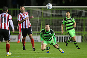 Forest Green Rovers Scott Laird(3) heads the ball clear during the EFL Sky Bet League 2 match between Forest Green Rovers and Lincoln City at the New Lawn, Forest Green, United Kingdom on 12 September 2017. Photo by Shane Healey.