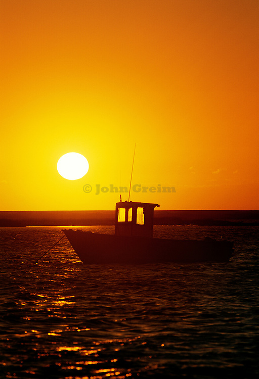 Lobster boat at sunset, Nauset Harbor, Orleans, Cape Cod, Massachusetts, USA