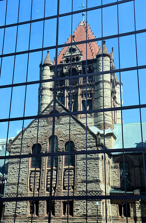 Trinity Church Reflection in John Hancock Tower in Boston, Massachusetts  <br />